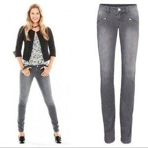 Cabi Zipper Pocket Gray Skinny Jeans 10